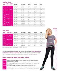 Shop Justice Size Chart Size Chart For Tops Kids Style Plus Size Shopping Size
