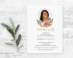 Celebration Of Life Invitations Funeral Announcement Memorial Invite
