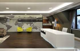 modern office. Contemporary White Desk With Stunning LED Lighting For Modern Office Reception Area Design World Map Wallpaper