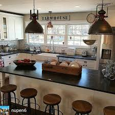 country kitchen lighting ideas. farmhouse kitchen like everything about this the lights contrast of white cabinets and dark countertops big windows stools country lighting ideas a