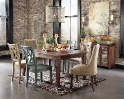 interior rustic dining room table sets shiny brown eased edge profile marble top simple upholstered