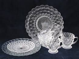 bubble pattern depression pressed glass dishes lot vintage anchor hocking