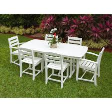 white plastic patio table and chairs. White Wicker Patio Furniture. La Casa Cafe 7-piece Plastic Outdoor Dining Table And Chairs I