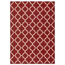 hampton bay trellis red reversible 5 ft x 7 ft indoor outdoor area rug rgar055466 the home depot
