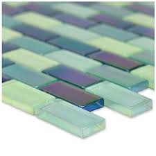 artistry in mosaics sea green blend 1 x 2 glossy iridescent glass pool tile gc82348g3