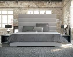 Bedroom Upholstered Headboard With Grey Carpet And Small Windows - Grey carpet bedroom