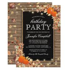 Fall Invitation Rustic Country Autumn Fall Birthday Party Invitation