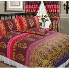kashmir red gold king size bed duvet quilt cover bedding set paisley