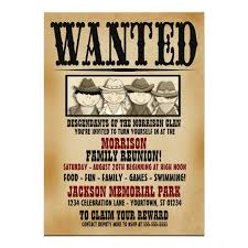 Barbeque Invitation Wanted Poster Family Reunion Barbeque Invitation
