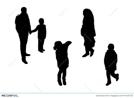 People Walking Top View Silhouettes Set 5 Illustration 41300755
