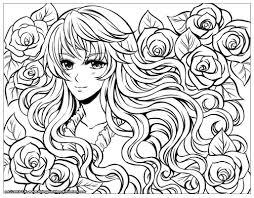 Fille Manga Fleurs Dans Ses Cheveux Par Flyingpeachbun Coloriage