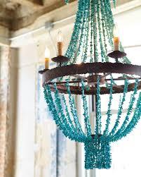 turquoise beads six light chandelier