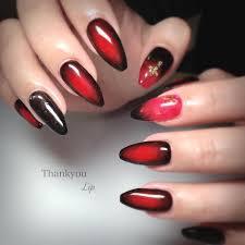 Lip On Instagram 赤ネイル黒グラデかっこいいネイルハードネイル