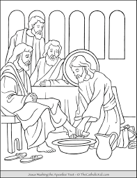 Have you read about jesus' gourmet meals?! Jesus Washing The Apostles Feet Coloring Page Thecatholickid Com