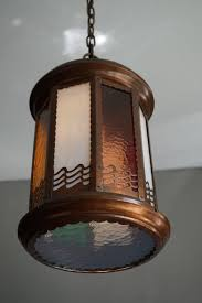 arts and crafts copper and byzantine glass pendant light unique hall lantern for 3