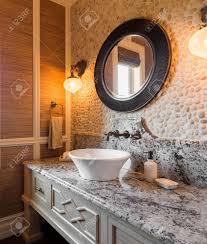 Bathroom Interior In New Luxury Home Half Bath With Sink Counter - Half bathroom
