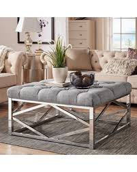 Image Poufs Weston Home Libby Button Tufted Cushion Ottoman Coffee Table With Chrome Metal Geometric Base Multiple Martha Stewart Get The Deal Weston Home Libby Button Tufted Cushion Ottoman Coffee