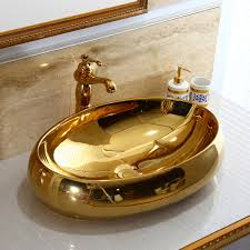 bowl bathroom sinks. Oval Gold Color Decor Porcelain Wash Basin Ceramic Countertop Bathroom Sink Bowl Sinks