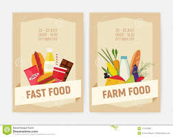 Food Product Poster Design Set Of Flyer Or Poster Templates For Farm And Fast Food