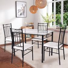 Costway 5 Piece Dining Set Glass Metal Table And 4 Chairs Kitchen