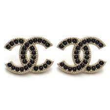 chanel earrings. chanel earrings a96115 gold / black pearl( taxfree/send by ems/authentic/ r