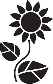 ポップでかわいい花のイラストフリー素材no1295白黒葉ひまわり