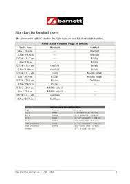 Baseball Glove Chart Size Chart Baseball Gloves Ang By Barnett Issuu