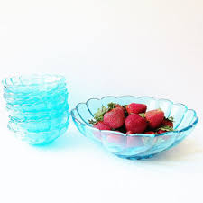 glass berry bowl set hazel atlas capri blue colony swirl fru