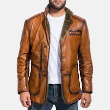 mens rocky brown fur leather coat 1