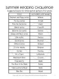summer reading challenge for kindergarten with book list