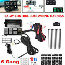 interior switches controls for kenworth t680 for 6 gang switch panel relay control box+wiring harness boat car truck w 12v power fits kenworth t680
