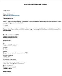 mba fresher resume sample - Mba Finance Resume Sample