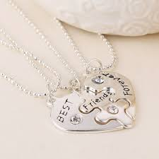 f best friends forever 3 part love break heart pendent friendship necklace for