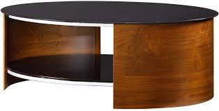 modern oval coffee table with glass top walnut or oak coffee