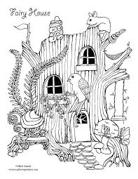 Fairy House Coloring Pages Printable Page Betterfor