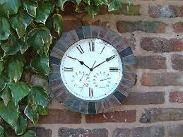 slate clock with thermometer and