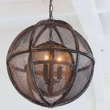 industrial metal orb pendant light double mesh globe sphere 3 light fitting