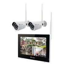 (TOUCH SCREEN)Wireless Camera System Home Security Set (720p) Two Wi-Fi Video Surveillance Cams w/ Real-Time Touchscreen Monitor   Motion Detection, TOUCH (720p