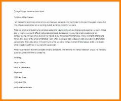 Letter Of Recommendation Template For Student Examples Of Letter Of Recommendation For College College