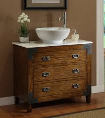 Rustic Bathroom Vanities And Sinks Adelina 36 Inch All Wood Construction Vessel Sink Bathroom Vanity