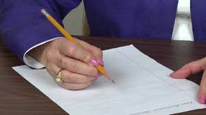 pencil and paper position for right handers