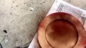 diy spray painting charger plates