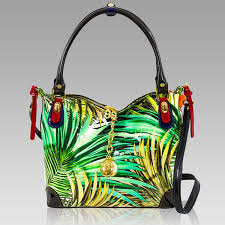marino orlandi green patent rainforest print leather handbag