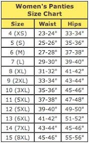Basic Size Chart For Womens Lingerie