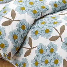 orla kiely rhododendron soft cerulian blue brown king duvet cover set 3pc orlakiely