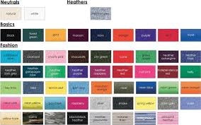 T Shirt Color Chart Tshirts On You Color Selections
