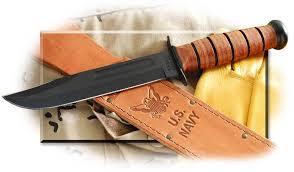 ka bar u s navy fighting utility knife plain edge leather sheath