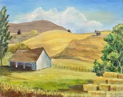 Don Hannan - Farmhouse on the Hills Landscape at 1stDibs