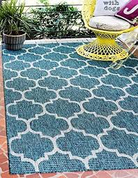 unique loom outdoor trellis collection teal 4 x 6 area rug 4 x 6
