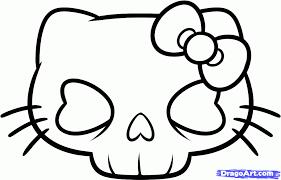 How To Draw A Hello Kitty Skull Hello Kitty Skull Step By